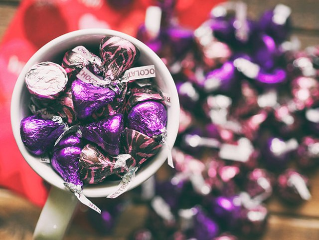 Purple foil-covered chocolate kisses