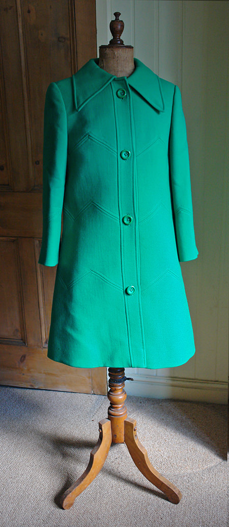 Green vintage coat by André Peters for Louis Feraud