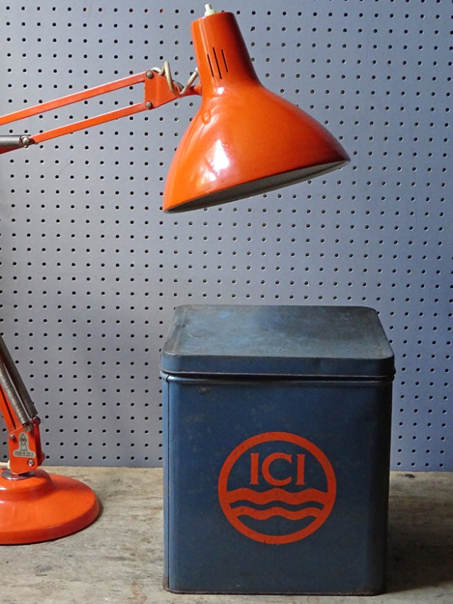 Vintage blue & orange ICI storage tin with large orange desk lamp | H is for Home