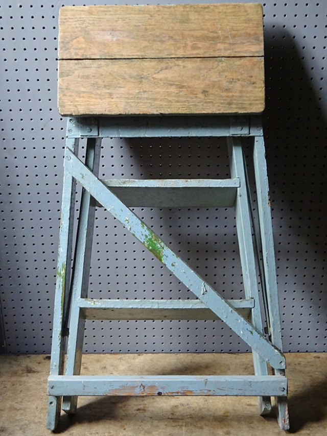 Blue-painted vintage industrial stepladder | H is for Home