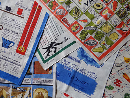 collection of vintage tea towels