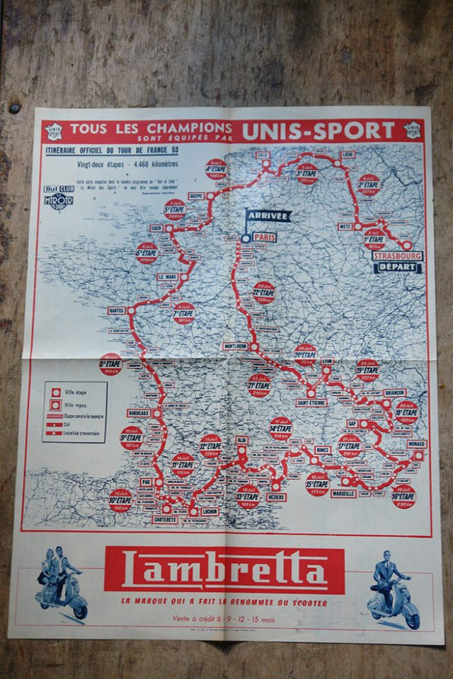 Vintage Lambretta Tour de France map | H is for Home