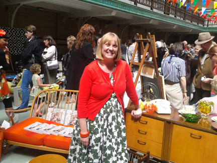 Keeley Harris of Discover Vintage and Vintage Home Show organiser at her stall at Victoria Baths, Manchester
