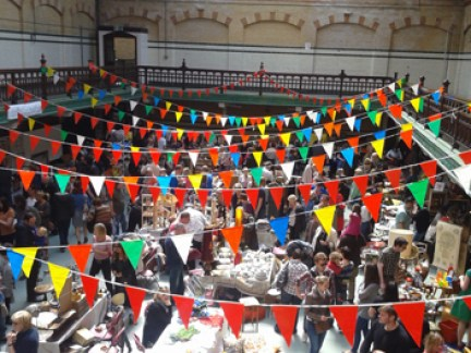 Victoria Baths, Manchester looking down on the Vintage Home Show stalls on Sunday 10 June 2012