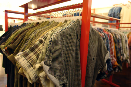 selection of vintage check shirts in Deep, Hilton Street, Manchester