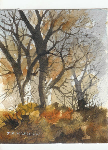 """small watercolour painting entitled, """"Bent Trees, Mitton Flats, Clitheroe"""" by J A Hurley"""