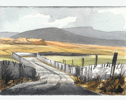 """small watercolour painting entitled, """"Dales Road"""" by J A Hurley"""