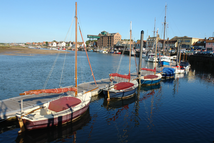 boats in the harbour at high tide, Wells-next-the-Sea