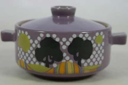 Vintage Denby Pottery 'Trees' lidded soup bowl