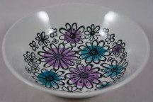 vintage pottery bowl with floral decoration