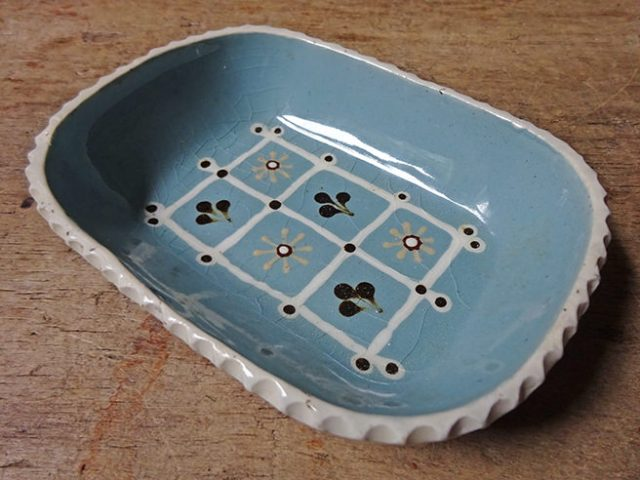 Vintage Ambleside Pottery slipware dish | H is for Home
