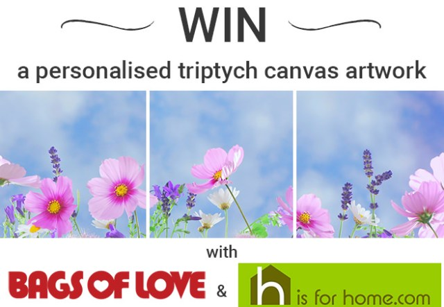Win a personalised triptych canvas artwork with Bags of Love & H is for Home
