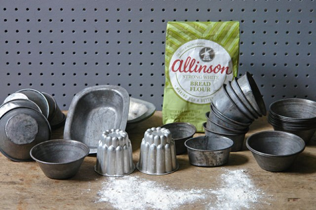 Collection of vintage bakeware with bag of flour   H is for Home