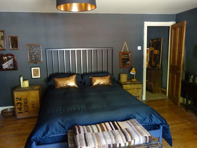 Dark decorated top floor bedroom | H is for Home