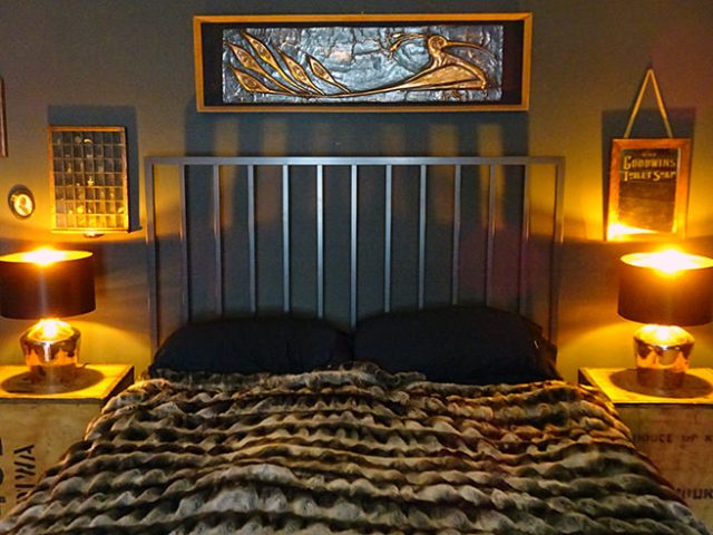 Our bedroom showing copper highlights with bedside lamps switched on | H is for Home