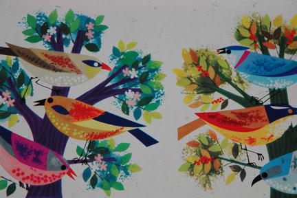 Vintage Cadburys biscuit tin with colourful illustration of birds | H is for Home