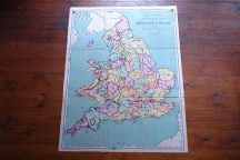 Vintage 'Bold feature' school wall map of England & Wales