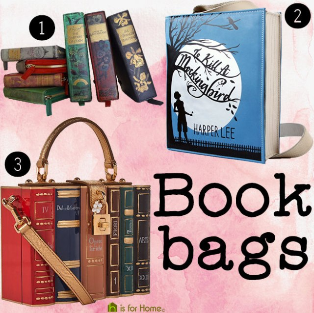 Book bags made to look like book covers