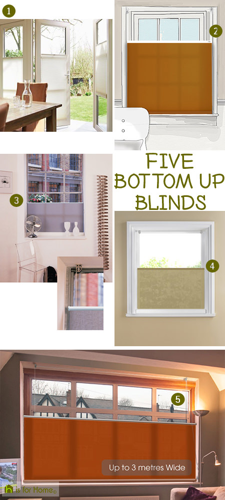 Selection of 5 bottom up blinds