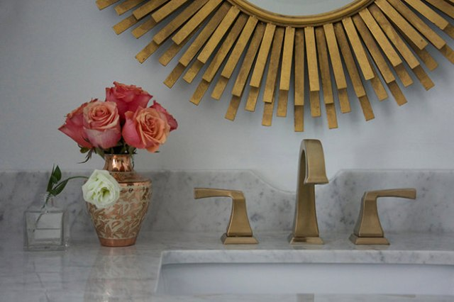Antique brass-mirror and hand basin taps