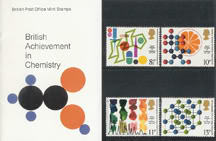 large sized image of vintage Royal Mail 'British Achievement in Chemistry' stamp presentation packs