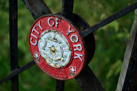 City of York plaque on a gate in the city