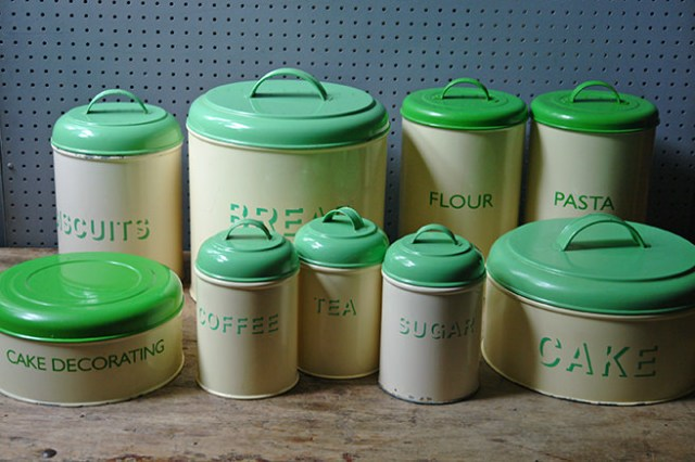 Vintage cream & green kitchen storage tins | H is for Home