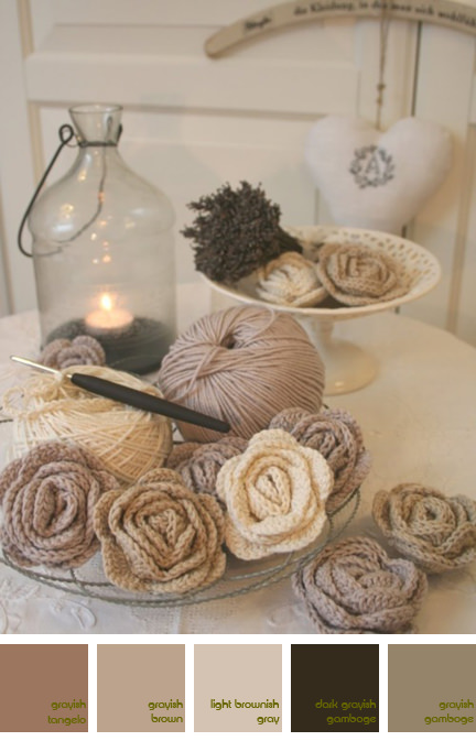 Hand crocheted roses in shades of white & cream