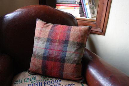 Lois cushion in orange plaid from Made.com | H is for Home