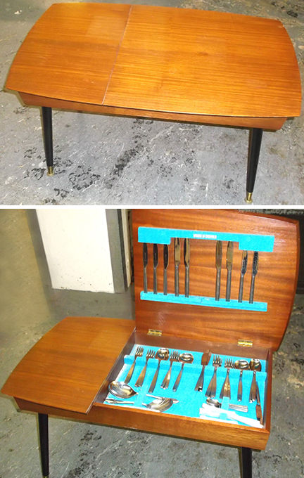 Vintage Viners cutlery storage table for sale by & in support of British Heart Foundation
