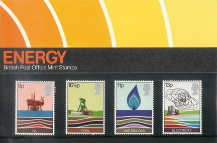 large sized image of vintage Royal Mail 'Energy' stamp presentation packs