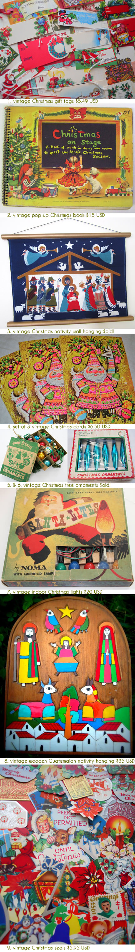 selection of festive vintage Christmas items available on Etsy | H is for Home