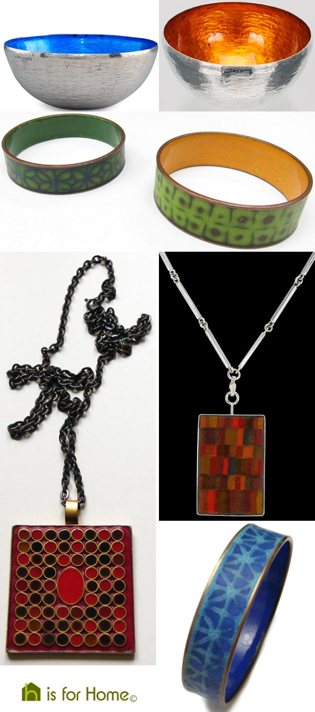 Collage of Eva Hidström metalware and jewellery designs   H is for Home