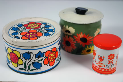 Trio of vintage tins all decorated with flower motifs | H is for Home