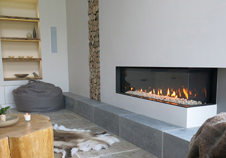 Minimalist rectangular glass gas fire