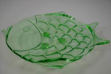 Vintage green glass fish dish