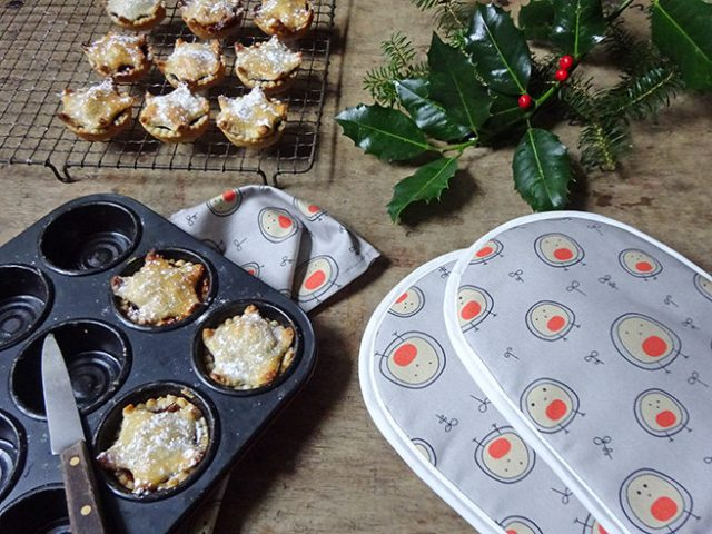 Helen Russell Blob Birds kitchen textiles with mince pies & holly | H is for Home