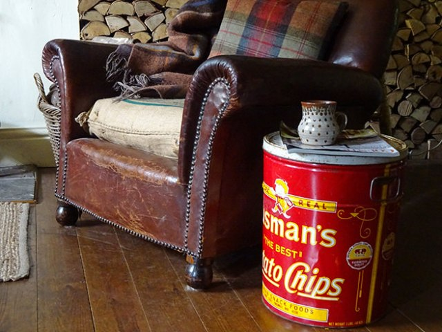 Vintage Husman's Potato Chips tin | H is for Home