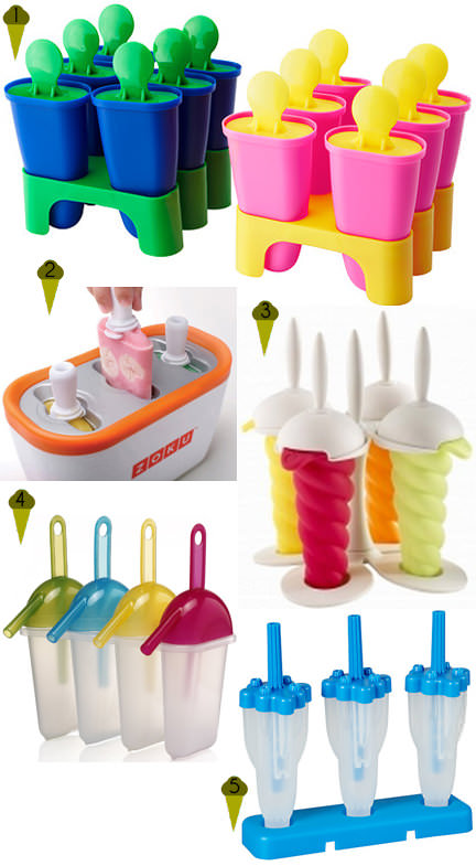 Selection of 5 ice lolly moulds