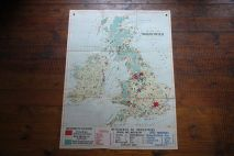 Vintage 'Industry' school wall map of the UK