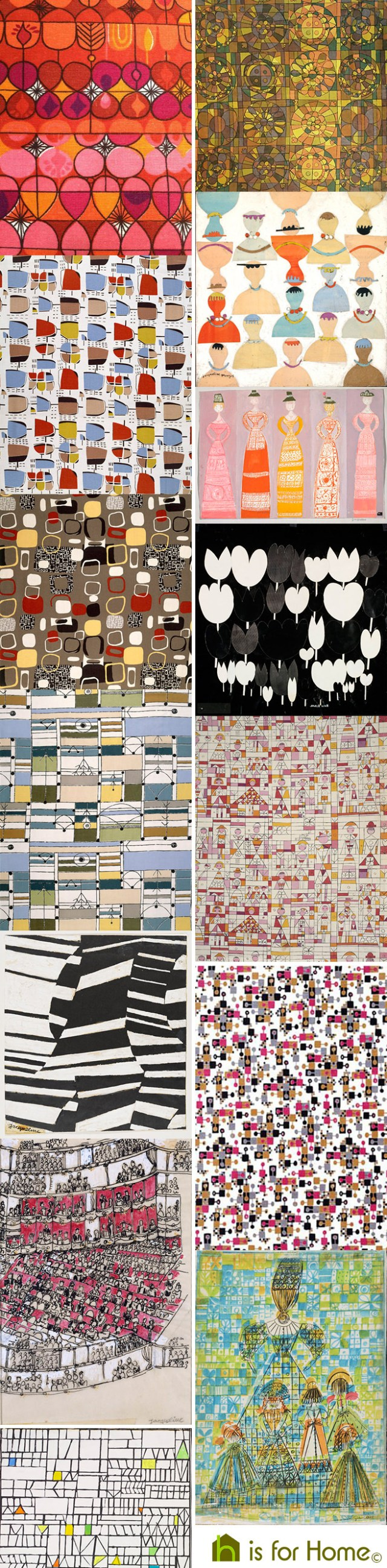 Mosaic of Jacqueline Groag designs | H is for Home