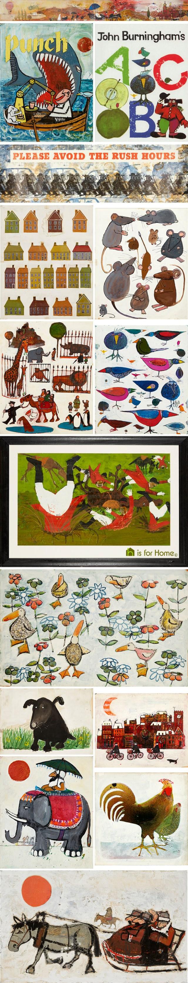 Mosaic of John Burningham illustrations | H is for Home