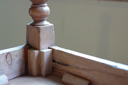 showing the jointing on the underside of the miniature pine table