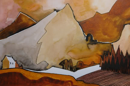 Original ink & wash painting by Geoffrey Key entitled Welsh Valley