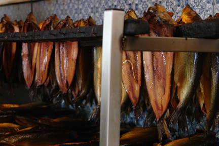 Whitby smoked kippers hanging up in Fortunes | H is for Home