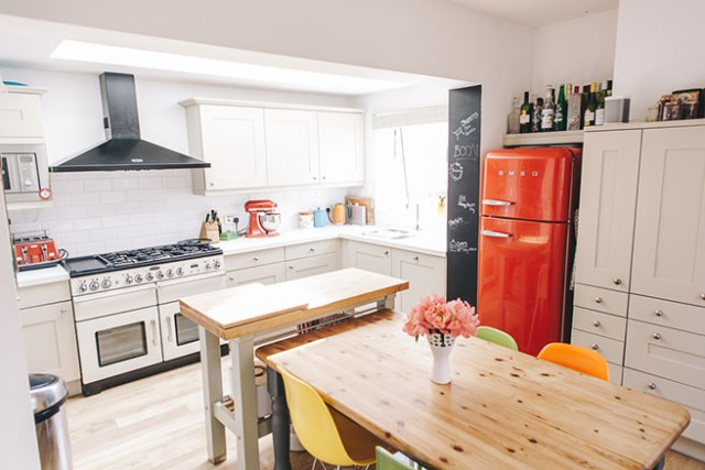 Kitchen with bright accents