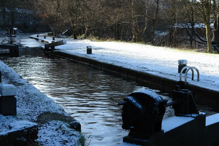 Canal lock with barge in iced over water | H is for Home