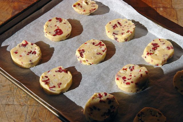 Home-made macadamia nut & cranberry cookies, uncooked on a baking tray | H is for Home