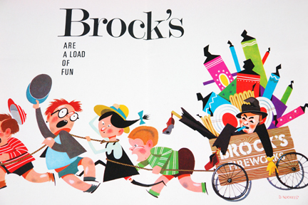 Vintage Brock's Fireworks poster illustration | H is for Home