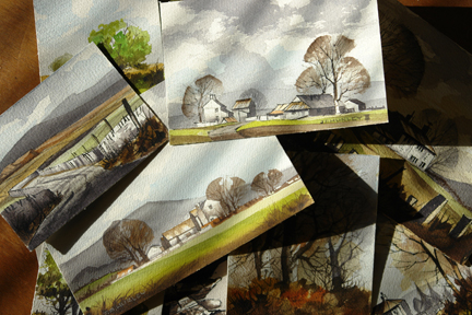 Collection of small watercolour paintings by J A Hurley | H is for Home